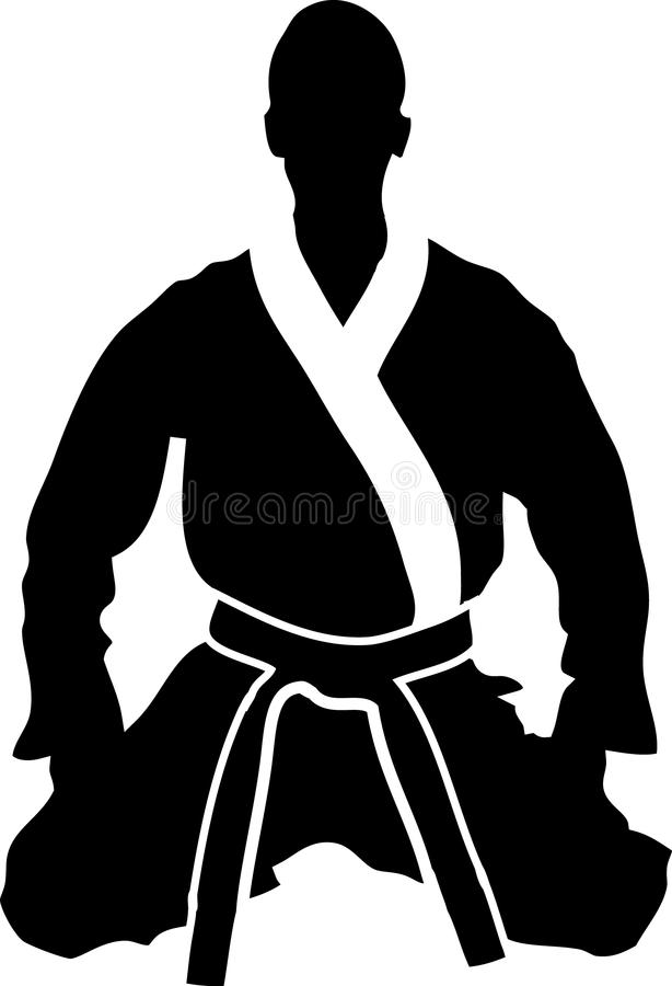 Seiza 01. A silhouette of a Martial Artist sitting in a kneeling posture, wearing a martial arts uniform and black belt