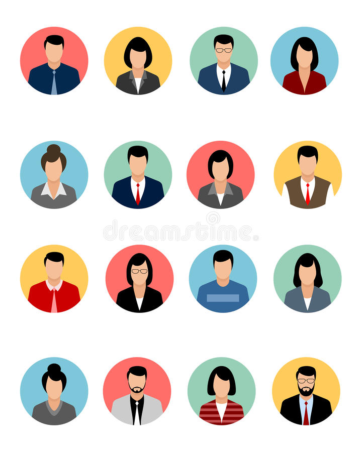 Seize avatars réglés illustration libre de droits