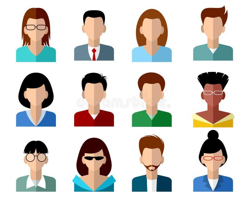 Seize avatars réglés illustration de vecteur