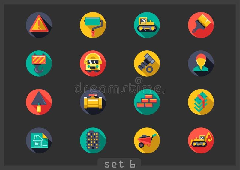 Seize icônes rondes plates de construction illustration libre de droits