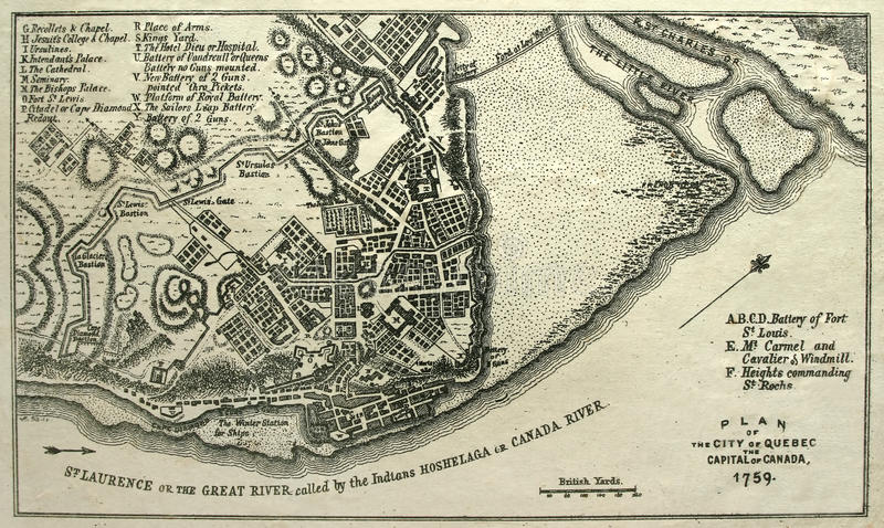 Seize Map of Quebec City, 1759. royalty free stock images