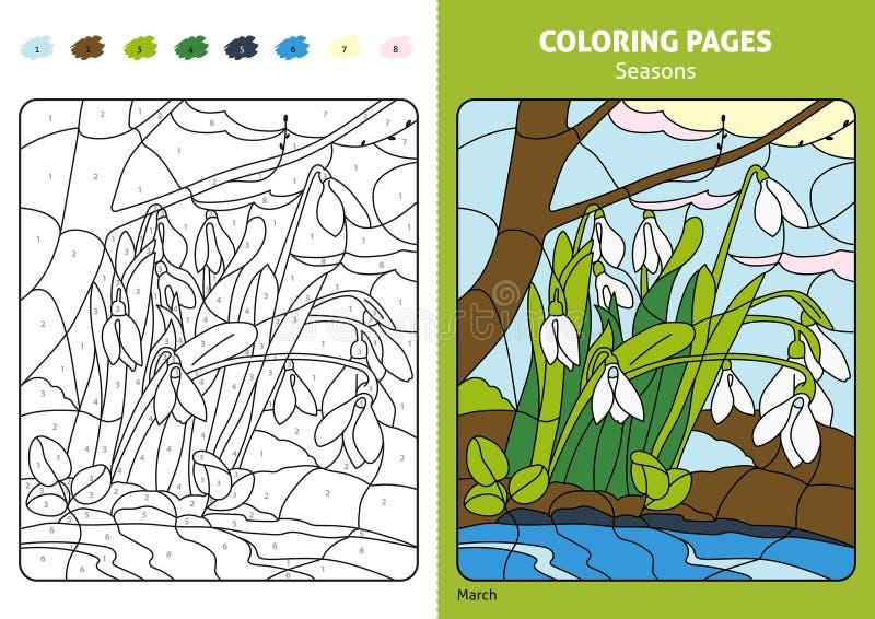 Seizoenen die pagina voor jonge geitjes kleuren, Juli-maand stock illustratie
