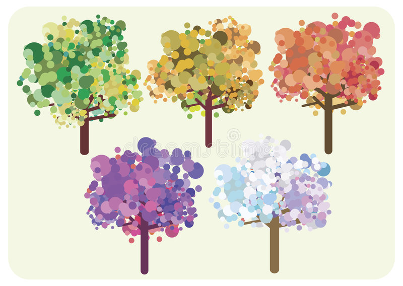 Seizoenen van de bomen stock illustratie