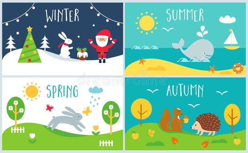 Seizoenen van de Jaarkaarten De winter, de lente, de zomer, de herfst stock illustratie