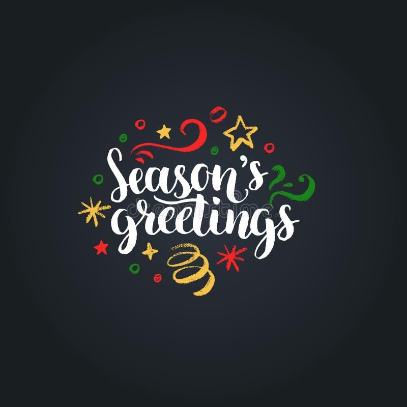 Seizoenengroeten die op zwarte achtergrond van letters voorzien Vectorhand getrokken Kerstmisillustratie De gelukkige Kaart van d royalty-vrije illustratie