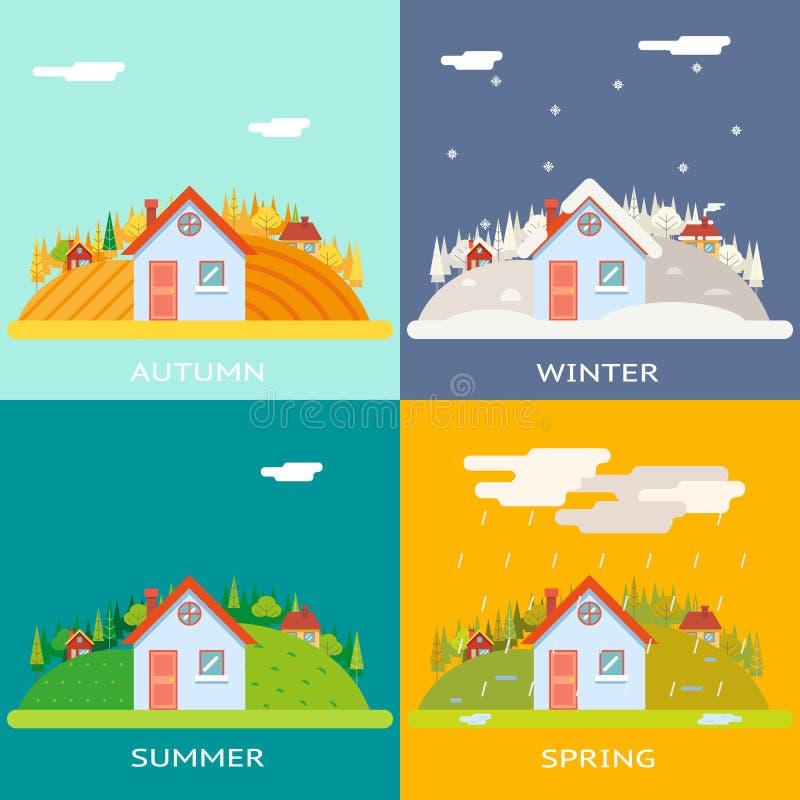 Seizoenenverandering Autumn Winter Summer Spring Village royalty-vrije illustratie