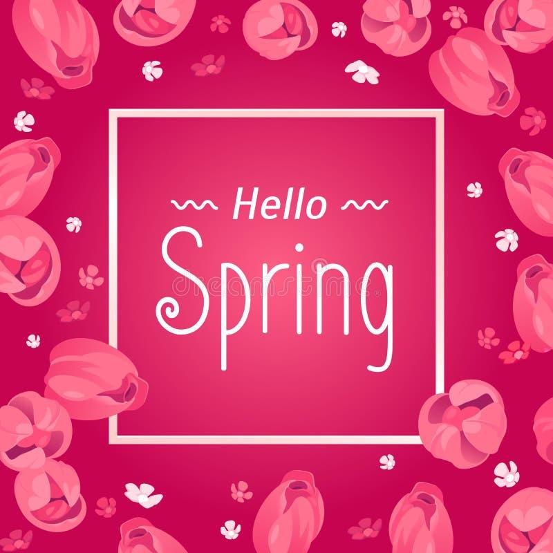 Seizoengebonden banner Hello-de kaart van de de lentegroet Vakantiekader met tekst en bloemen Vectormalplaatje met verse kleurrij vector illustratie
