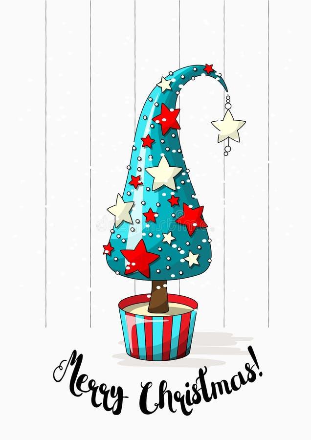 Seizoengebonden beweging veroorzakende, abstracte Kerstmisboom met sterren, parels en tekst Vrolijke Kerstmis, vectorillustratie vector illustratie