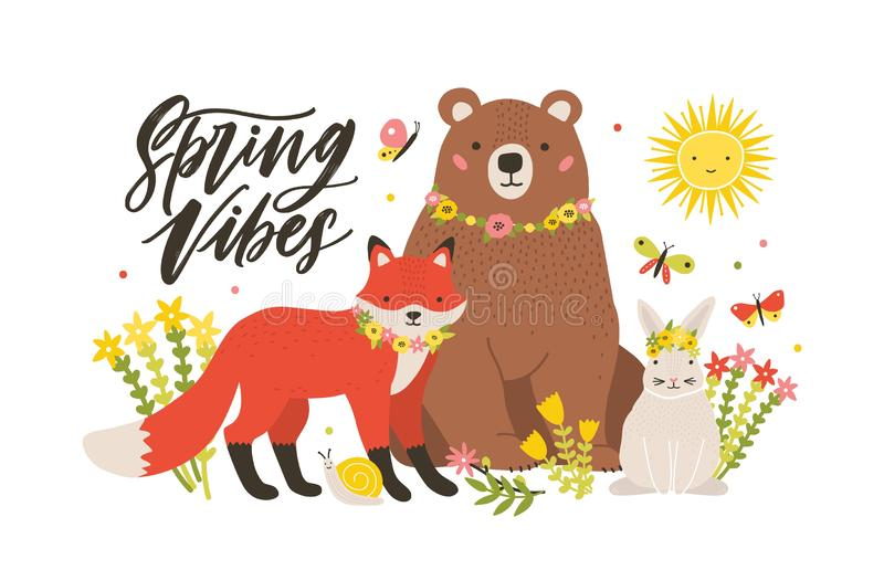 Seizoengebonden kaartmalplaatje met leuke bosdieren dat door bloeiende bloemen en vlinders en de Lente Vibes wordt omringd royalty-vrije illustratie