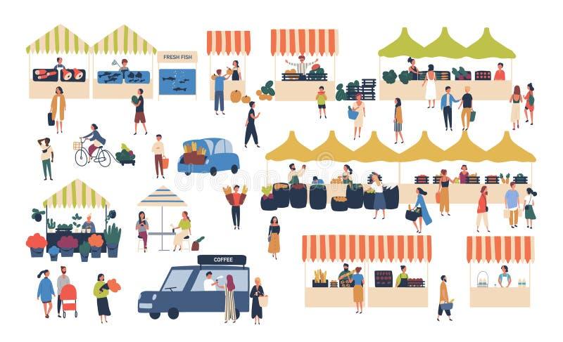 Seizoengebonden openluchtstraatmarkt Mensen die tussen tellers, het kopen groenten, vruchten, vlees en andere landbouwer lopen vector illustratie