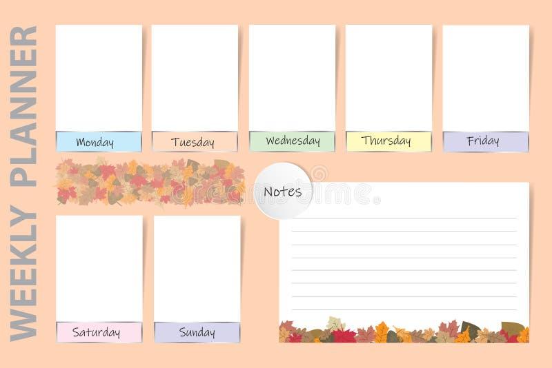 Seizoengebonden wekelijkse ontwerper met het ontwerp van de herfstbladeren vector illustratie
