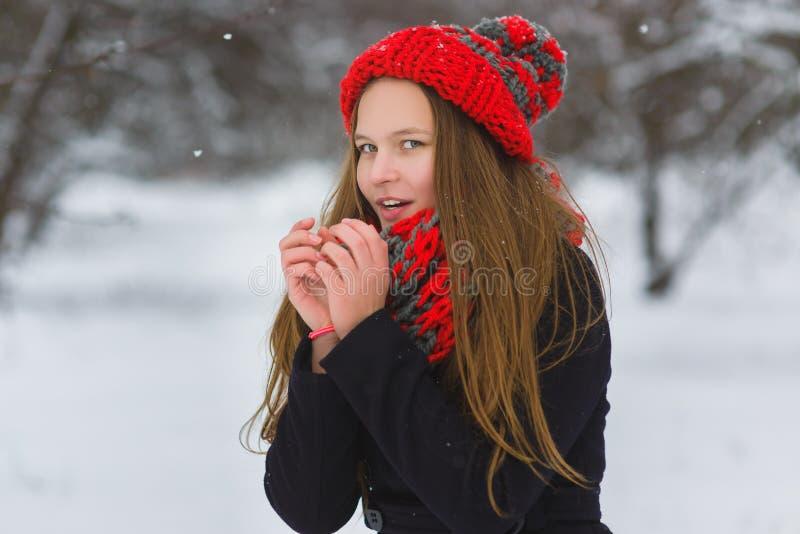 Seizoenkerstmis of vakantie en mensenconcept - het glimlachende jonge meisje in de winter kleedt openlucht stock foto