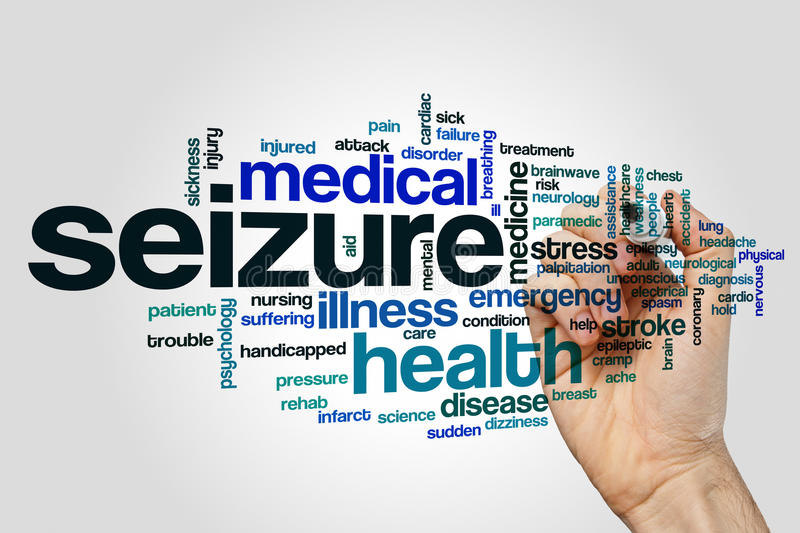 Seizure word cloud. Concept on grey background stock image