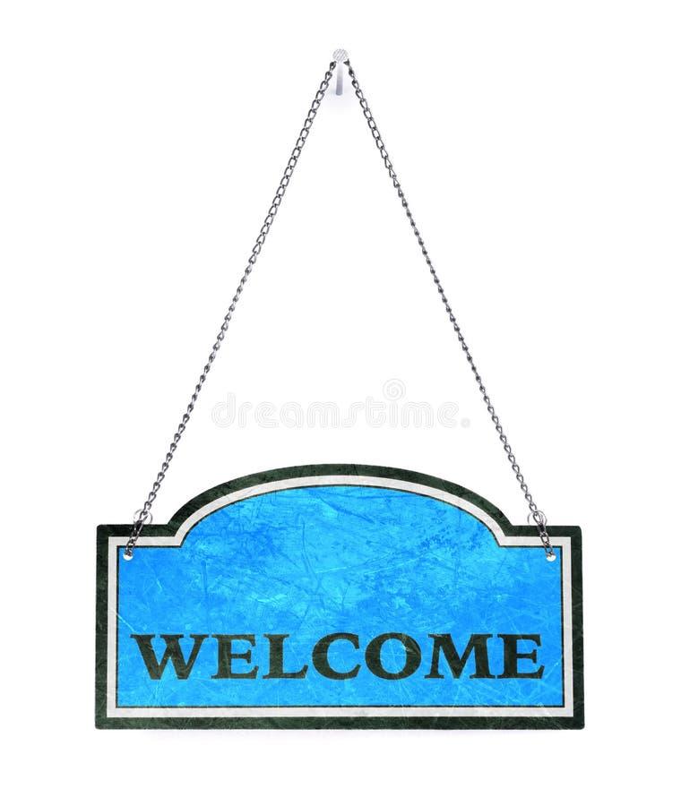 Seja bem-vindo! Sinal velho do metal isolado imagem de stock