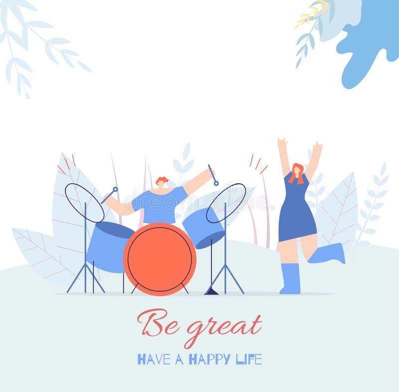 Seja cartão liso da música do grande texto da motivação dos povos ilustração stock