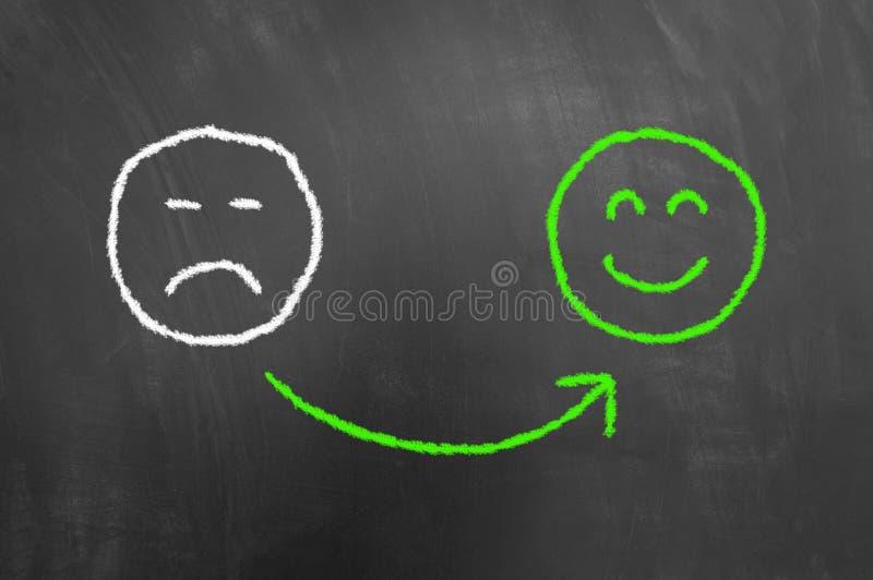 Seja desenho feliz com giz no quadro-negro ou no quadro fotos de stock royalty free