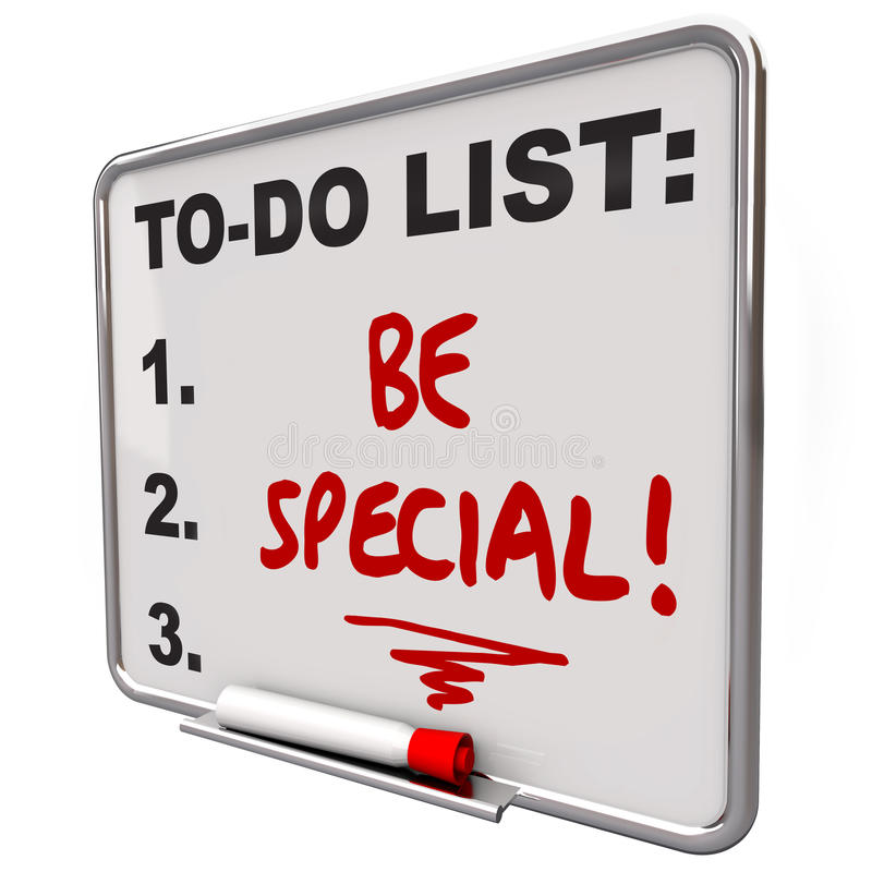 Seja especial fazer a placa seca Distincti diferente original do Erase da lista ilustração royalty free