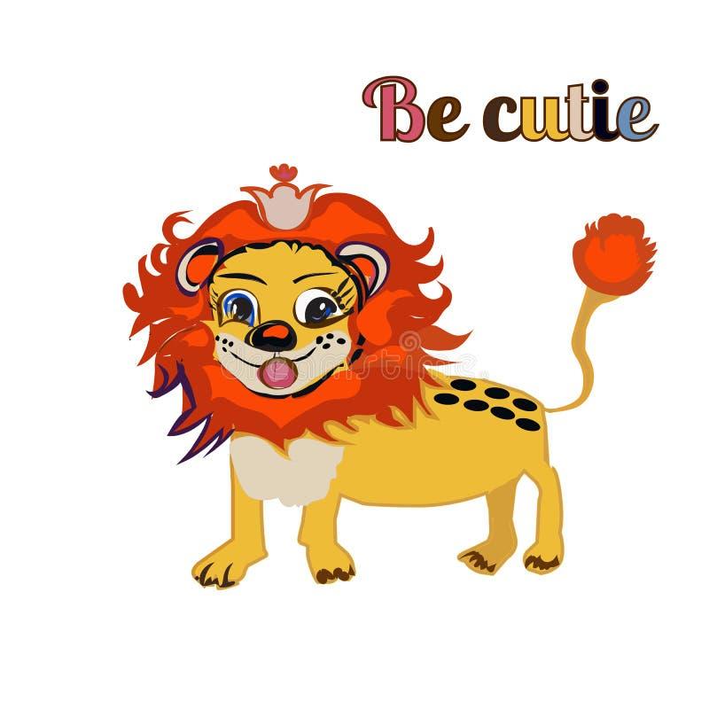 SEJA leão de CUTIE PARA A CÓPIA, livro da criança s ilustração stock