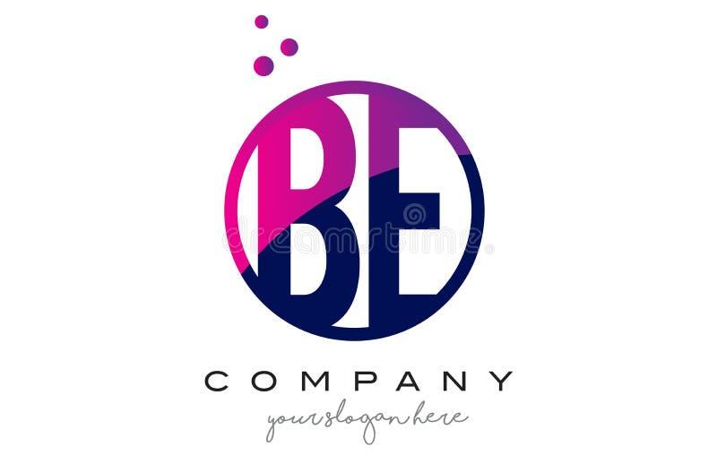 SEJA letra Logo Design do círculo de B E com Dots Bubbles roxo ilustração do vetor