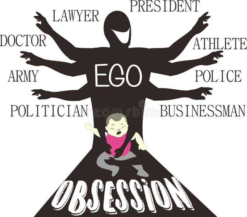 Seja meu ego - obsessão parental - arte da sátira imagens de stock royalty free