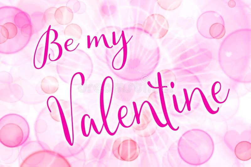 Seja meu Valentim, cartão cor-de-rosa para o dia de Valentim com ouvem-se fotos de stock royalty free