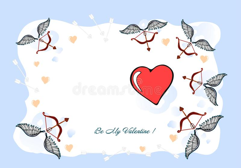Seja meu Valentim, cartão do Valentim, cartão Uma ilustração do dia de Valentim - eu te amo, mão-desenho projetado original ilustração do vetor