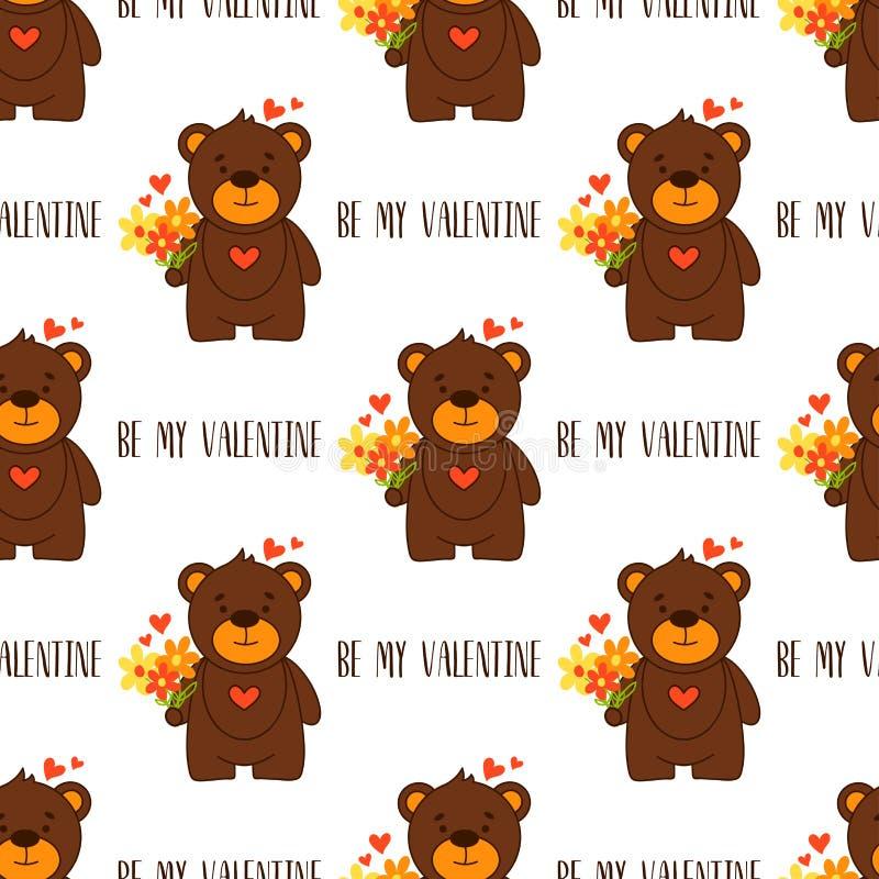Seja meu Valentim Dia feliz do `s do Valentim Teste padrão sem emenda com ursos bonitos ilustração stock