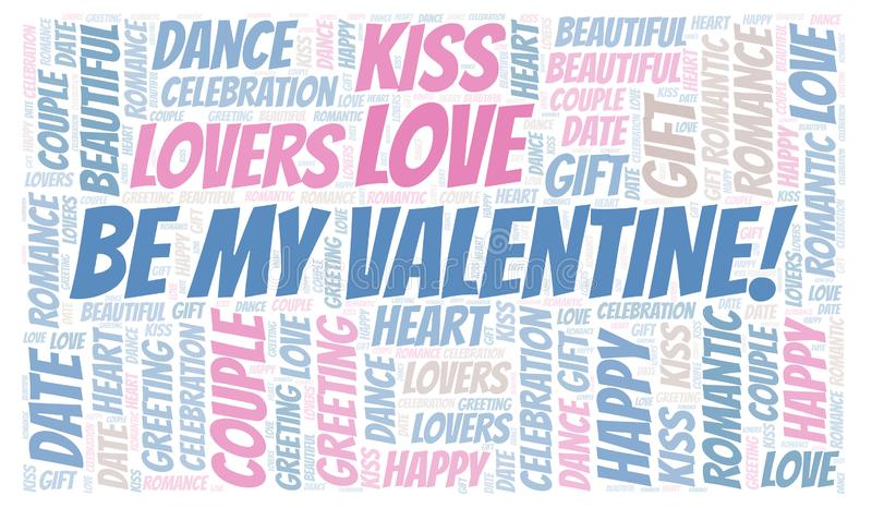 Seja meu Valentim! nuvem da palavra ilustração royalty free