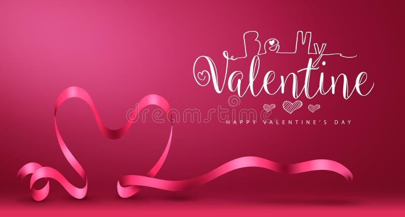 Seja meu Valentine Banner com dia de Valentim feliz do vetor do coração ilustração do vetor