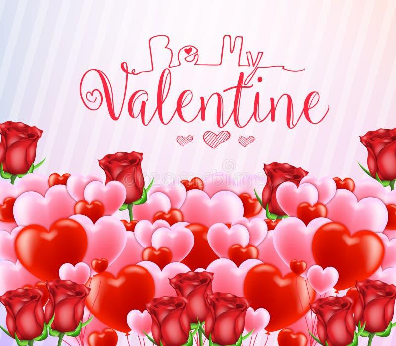 Seja meu Valentine Greeting Poster com lotes de corações vermelhos e cor-de-rosa ilustração royalty free