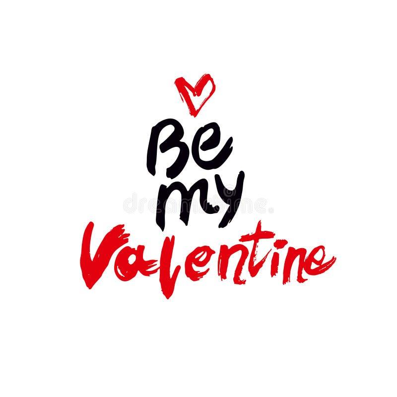 Seja meu Valentine Handwritten Lettering Texto caligráfico preto e vermelho com coração vermelho no fundo branco ilustração stock