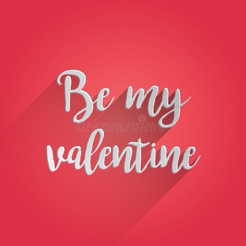 Seja meu Valentine Lettering Design ilustração do vetor