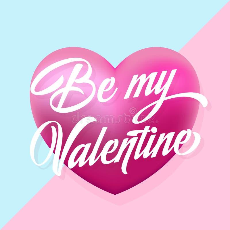 Seja meus Valentine Mint e cartão delicado do vetor dos corações cor-de-rosa Tipografia moderna ilustração do vetor