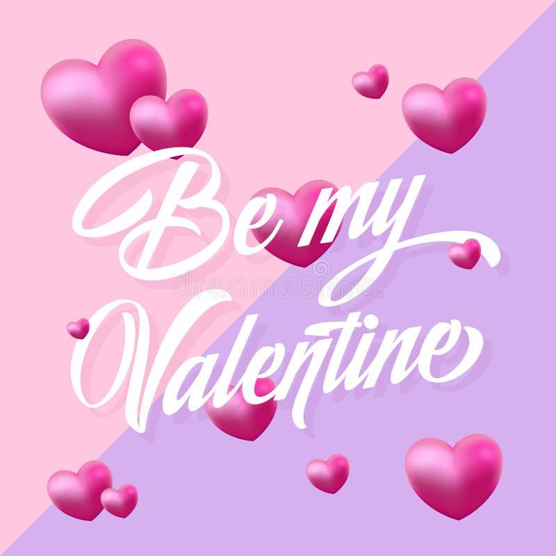 Seja meus Valentine Purple e cartão delicado do vetor dos corações cor-de-rosa Tipografia moderna ilustração stock