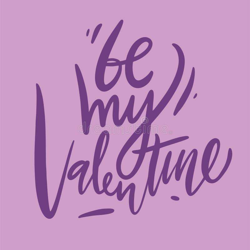 Seja minha rotulação do Valentim Ilustração do vetor de Valentine Greeting Card com coração ilustração stock