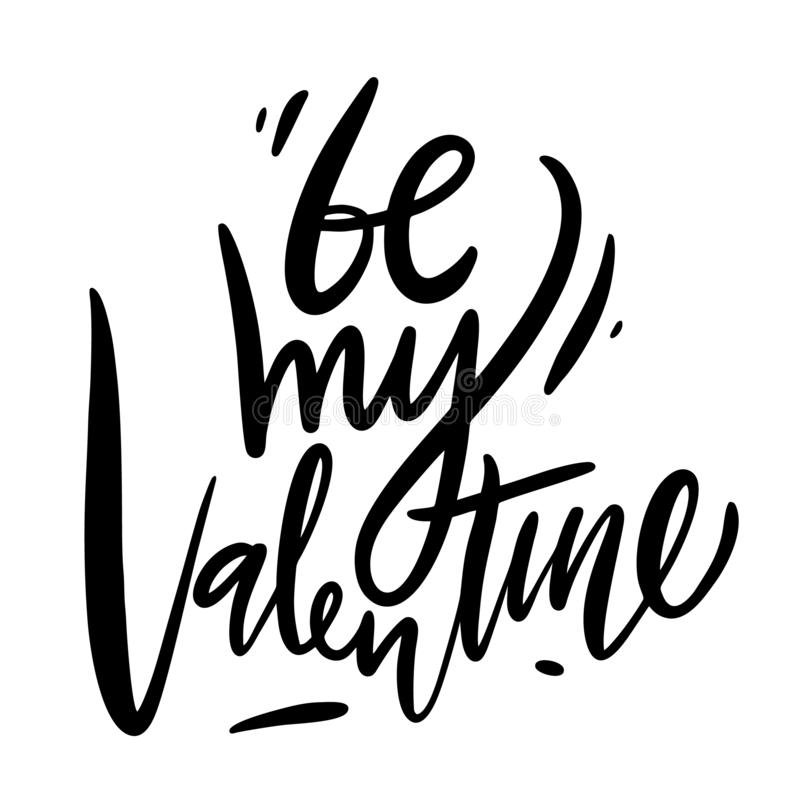 Seja minha rotulação do Valentim Ilustração do vetor de Valentine Greeting Card com coração De tinta preta isolado ilustração stock