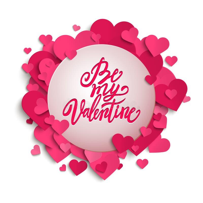 Seja minha rotulação escrita à mão da pena da escova do Valentim na bandeira com corações cor-de-rosa, o dia de Valentim, ilustração do vetor