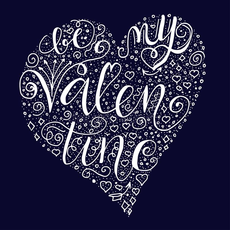 Seja minhas citações do Valentim em escuro - fundo azul ilustração royalty free