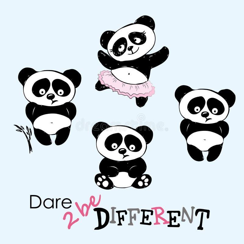 Seja panda diferente, bonito em várias poses ilustração royalty free