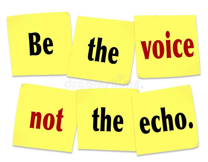 Seja a voz não Echo Sticky Note Saying Quote ilustração do vetor