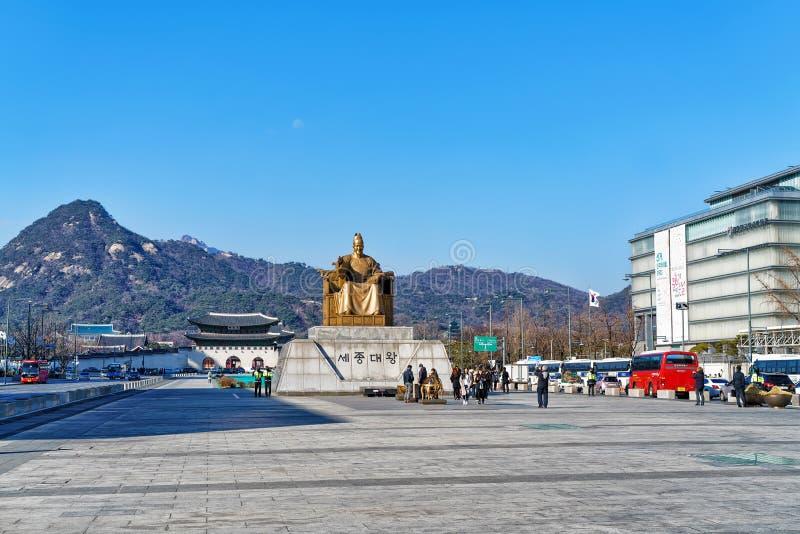 Sejong国王雕象Gwanghwamun广场的在汉城 免版税库存照片