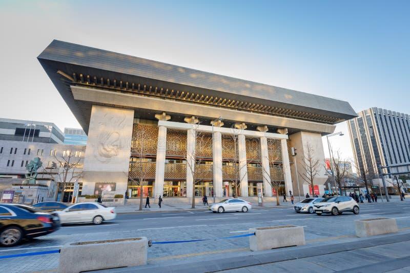 Sejong Center för utförande Art Seoul Sejong Center för föreställningskonst är de största konsterna och det kulturella komplexet  royaltyfri foto