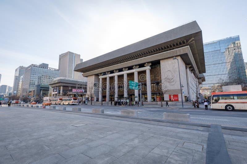 Sejong Center para Art Seoul de ejecución Sejong Center para el arte interpretativa es los artes más grandes y el complejo cultur fotos de archivo