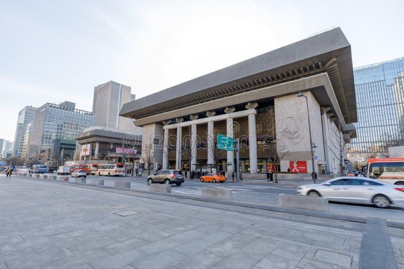 Sejong Center voor het Uitvoeren van Art Seoul Sejong Center voor Uitvoerende kunst is de grootste kunsten en culturele complex i stock fotografie