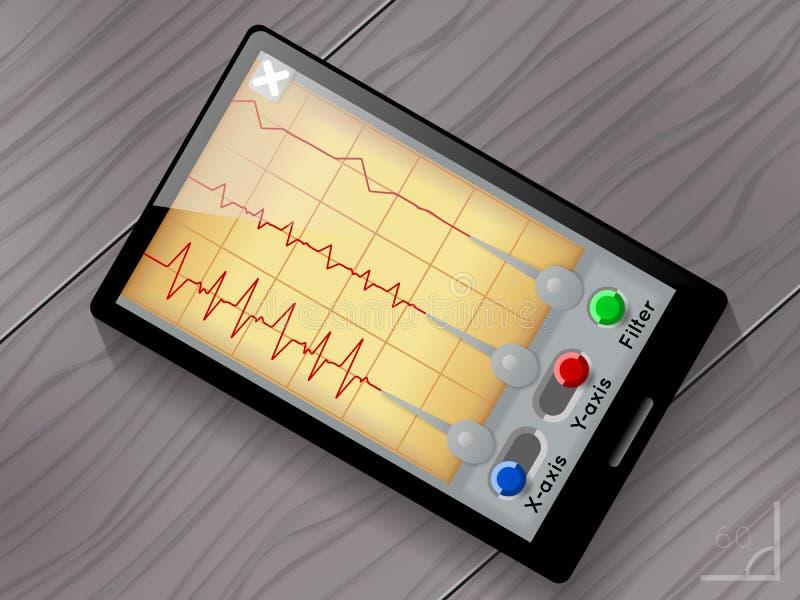 Sejsmografu app wektoru interfejs użytkownika royalty ilustracja