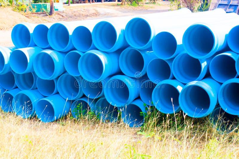 Sekcja błękitne PVC drymby fotografia stock