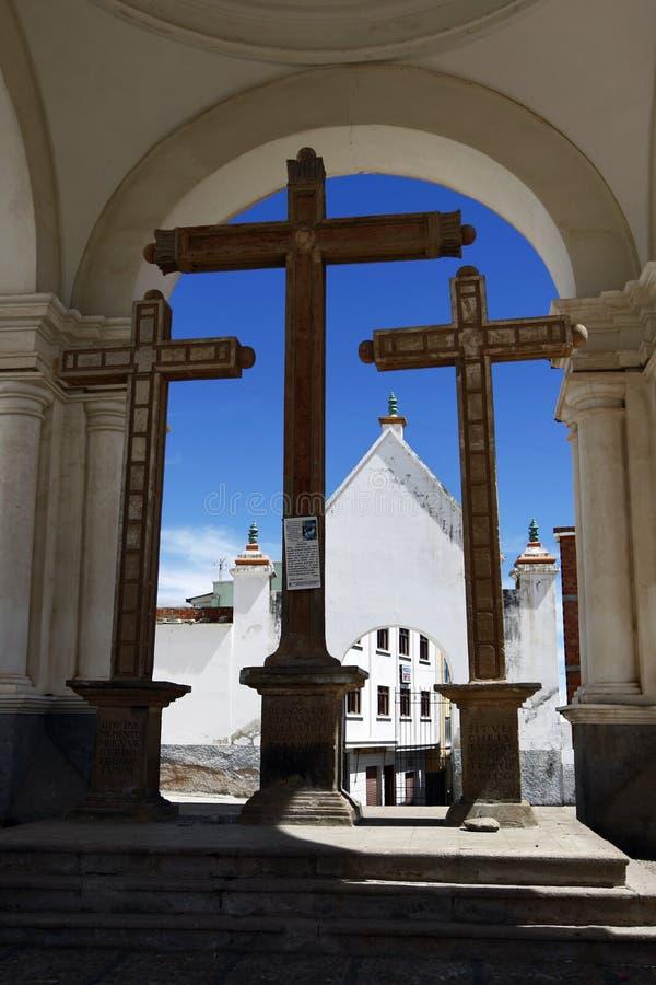 Sekcja bazylika Nasz dama Copacabana sławny kościół katolicki w Copacabana w Boliwia obrazy royalty free