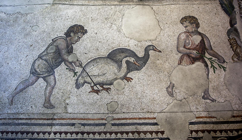 Sekcja mozaiki od Wielkiej pałac mozaiki przy Istanbuł mozaiki muzeum w Turcja zdjęcia stock