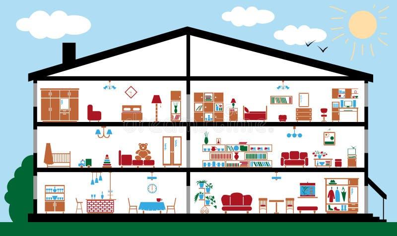 Sekcja wnętrze dom ilustracji