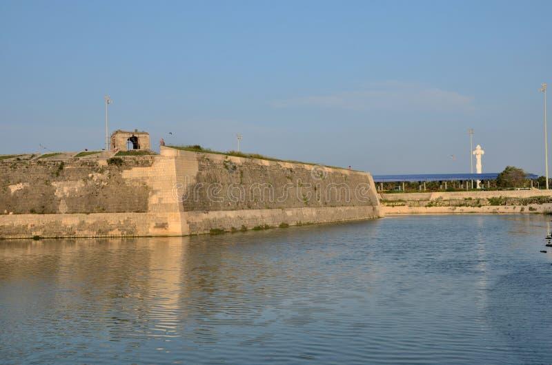 Sekcje ściana i fosa z wodą przy Jaffna fortem Sri Lanka zdjęcia stock